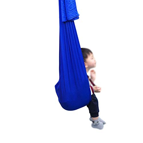 Sensory Therapy Swing for Kids, Cuddle Hammock Indoor Adjustable Aerial Yoga, Snuggle Children with Autism ADHD and Aspergers (Color : Royal blue, Size : 150x280cm/59x110in)