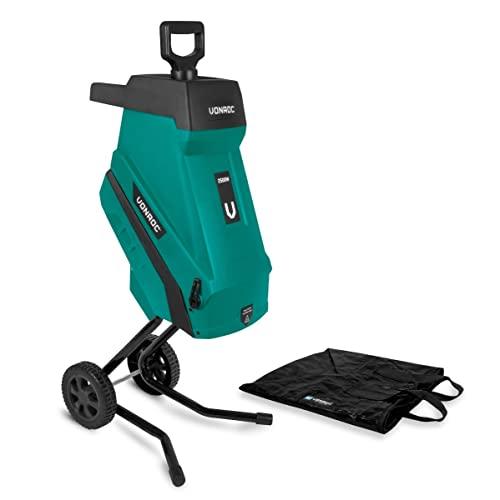 VONROC Trituradora 2500W - Para ramas de hasta Ø45mm - Incluye bolsa de recogida de 45L y palo de empuje