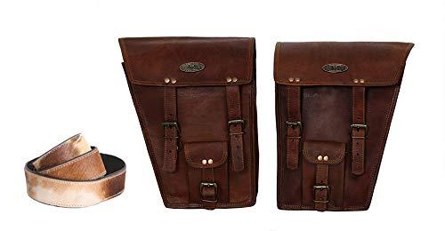 2 X Motorrad-Seitentasche Satteltaschen aus braunem Leder Satteltaschen Satteltaschen (2 Taschen) Motorrad-Fahrrad-Fahrradtasche Buffalo-Leder-Kameragürtel
