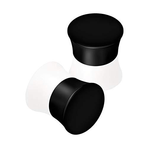 BanaVega 2 piezas de silicona negra doble acampanada de 2 tonos, calibre de oreja, dilatador, lóbulo, piercing para pendientes, joyería a elegir tamaños
