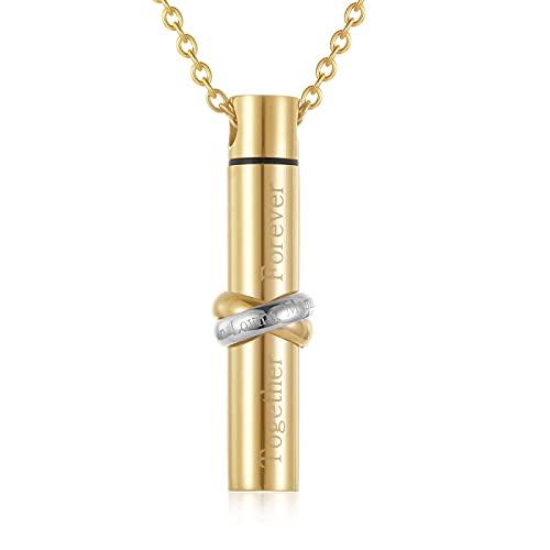 Collar De Urna De Cremación - Cenizas Conmemorativas & Quot; Juntos Para Siempre & Quot;Collar Con Dije De Ceniza Cilíndrica, Colgante De Medallón De Alta Capacidad, Joyería Para Mujeres / Hom