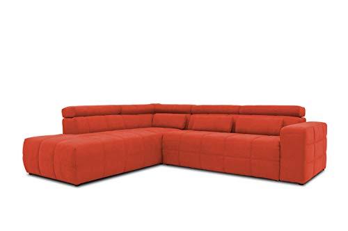 DOMO collection Brandon Ecksofa, Sofa mit Rückenfunktion in L-Form, Polsterecke, Eckgarnitur, orange, 278 x 175 x 80 cm