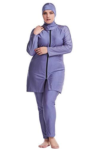 GladThink Dame Muslim Übergröße Islamische Burkini Bescheiden Badebekleidung Grau 5XL