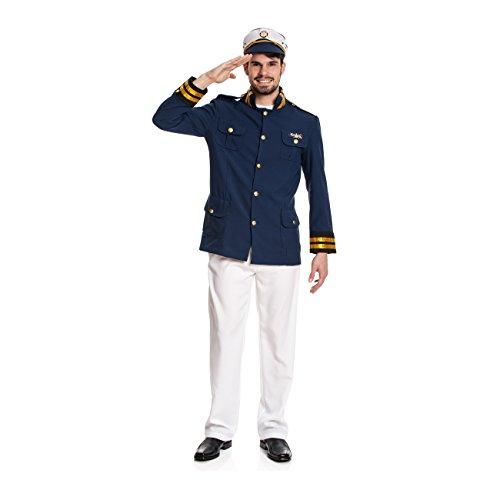 Kostümplanet® Kapitän-Kostüm für Herren mit Sakko, Hose und Kapitäns-Mütze, Faschingskostüm Größe: 56/58