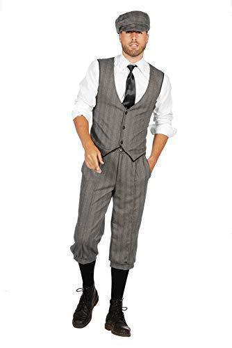 shoperama 20er Jahre Peaky Blinders Anzug Knickerbocker Herren-Kostüm Schwarz-Weiß Weste Schiebermütze The Roaring Twenties 20's, Größe:54