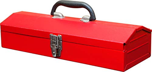 BIG RED TB102 Torin 16quot Hip Roof Style Portable Steel Tool Box with Metal Latch Closure Red