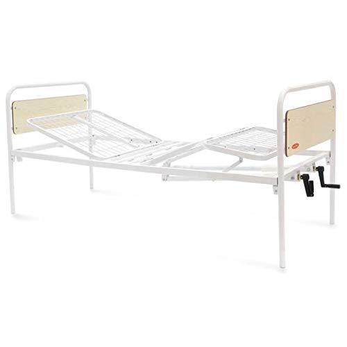 Letto per degenza ospedaliera o domiciliare a 4 sezioni e 2 manovelle. Struttura in acciaio con alzatesta e alzagambe regolabile. – Cura Farma