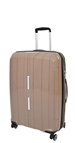 Durable 4 Wheel Suitcases Hard Shell Luggage Expandable TSA Lock Zipped Travel Bags HLG830 Brown (Medium : 66x44x27cm/ 3.00KG,65/15liters)