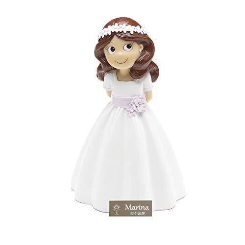 Figura de comunión niña para Pastel Personalizada con Placa grabada. Modelo fajin Lila