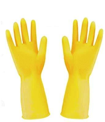 Guantes de limpieza de goma impermeables largos para limpieza de vajilla, color amarillo, talla M