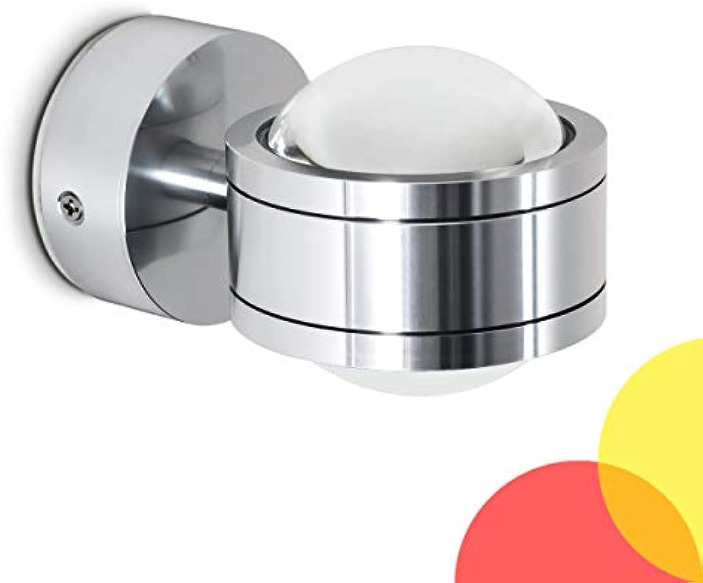 LED Wandlampe Indore, runde Wandleuchte aus Metall u. Glas in Aluminium, Wandspot 2-flammig mit Farbfliter in Gelb und Rot, 2 x 3 Watt, je 300 Lumen (600 Lumen insgesamt), 3000 Kelvin (warmwei)