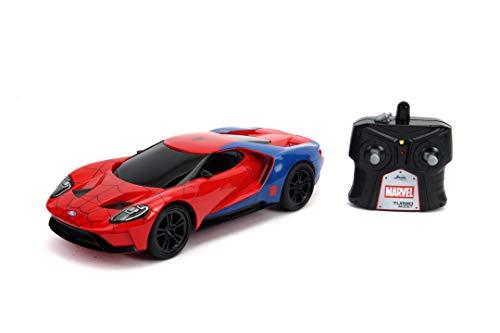 Jada Toys 253226002 Marvel RC, Spiderman 2017, Ford GT, Ferngesteuertes Auto, Turbofunktion, 2-Kanal Funkfernbedienung, USB-Ladefunktion, inkl. Batterien, 1:16, rot/blau/weiß
