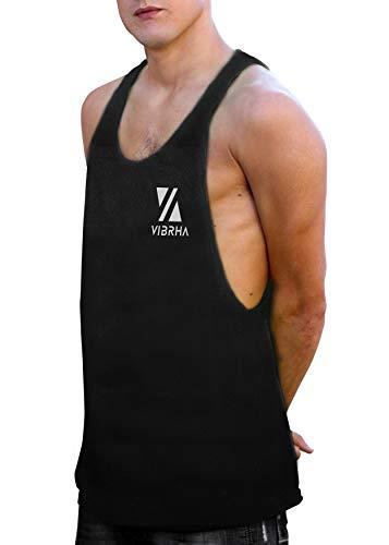 Vibrha Camiseta Deportiva Sin Mangas Flúor De Hombre - Camiseta De Tirantes Bodybuilding Gym Fitness (Negro, L)