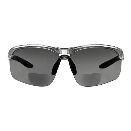 """Bifokale Schutzbrille mit Lesehilfe voltX """"Constructor Ultimate"""" (transparenter Rahmen, rauchglasfarbene Gläser +1,5 Dioptrien) CE EN166FT-zertifiziert – Bifokale Rad-/Sportbrille – UV400"""