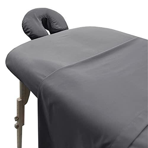 London Linens Soft Microfiber Massage Table Sheets Set 3 Piece Set - Includes Massage Table Cover, Massage Fitted Sheet, and Massage Face Rest Cover (Grey)
