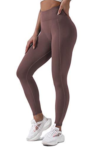 FAFOFA Women Winter Footless Leggings High Waist Stretch Parkour Outdoor Tights Coffee S
