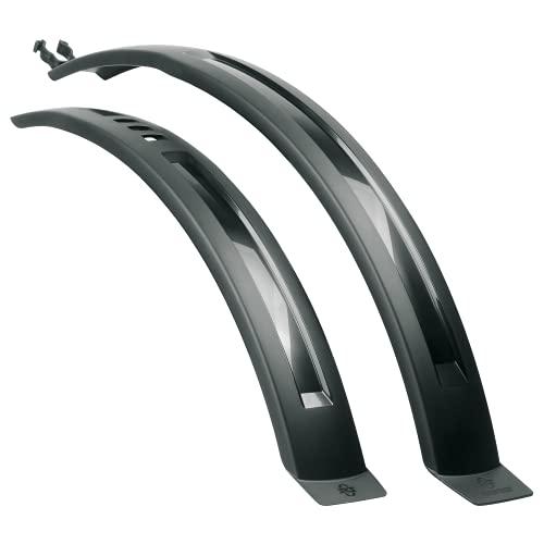 SKS GERMANY HIGHTREK SET Schutzblech-Set Universalbefestigung (Fahrradzubehör aus schlagfestem Hochleistungskunststoff, schnelle und werkzeugfreie Montage, sportive Optik), schwarz