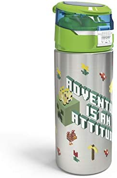 Zak Designs Minecraft Durable Stainless Steel Water Bottle with Push Button Flip Lid Leak Proof product image