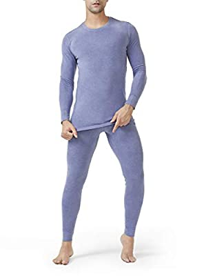 DAVID ARCHY Men's Thermal Underwear Set Winter Warm Base Layers Thermal Top and Bottom Long Johns Set (L, Heather Moonlight Blue)