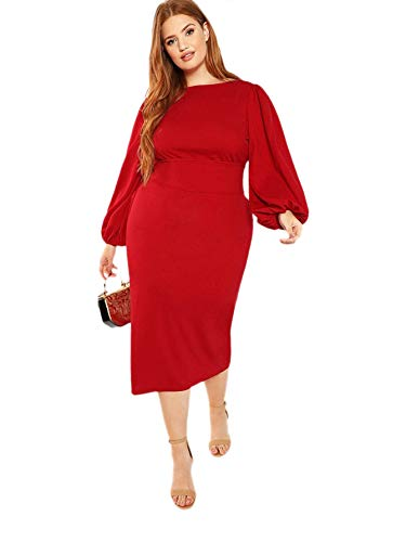 Milumia Women's Plus Size Round Neck Long Lantern Sleeve Belted Party Pencil Dress Red