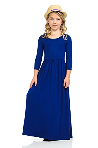 Pastel by Vivienne Honey Vanilla Girls' Fit and Flare Maxi Dress with Easy Removable Label Large / 9-10 Years Royal Blue
