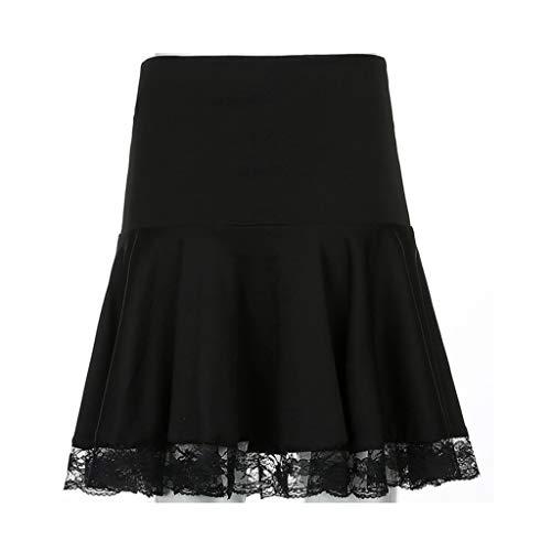 YWSZJ Mini Falda del Remiendo del Remiendo del Remiendo del Encaje Oscuro, la Falda de Las Mujeres de la Cintura Alta Plisada Negra, la Moda del otoño (Size : Small)