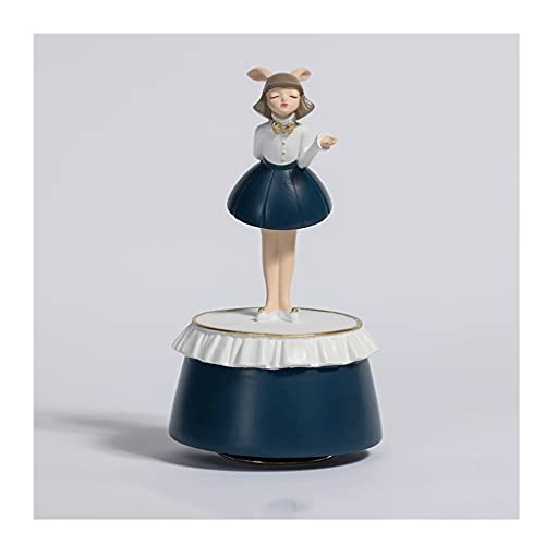 Caja De Música Creativa del Tesoro De Conejo, Resina Cajas Musicales Giratorias Ornamentos Decorativos, For Niñas, Cumpleaños Infantil Regalo significativo (Color : Blue)