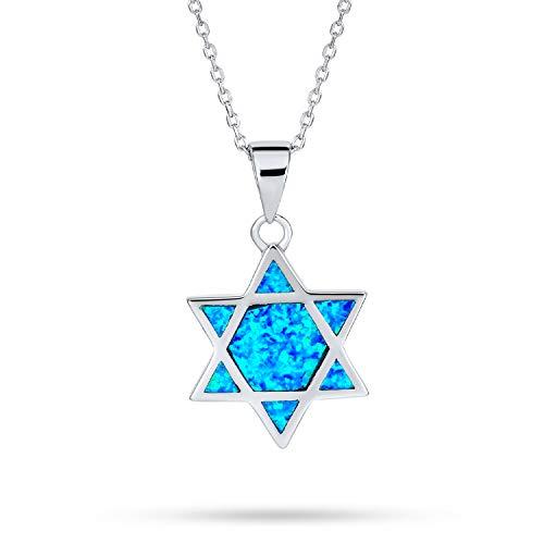 Janucá Creado Azul Opal Inlay Magen Judío Collar Del Colgante De Estrella De David Para La Mujer Para Adolescente 925