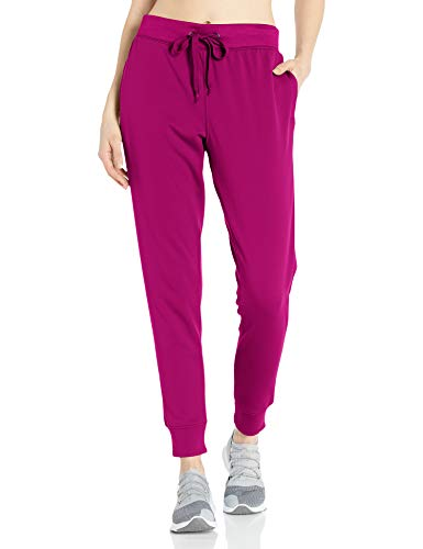 Hanes Women's Sport Performance Fleece Jogger Pants with Pockets, Fresh Berry Solid/Fresh Berry Heather, L