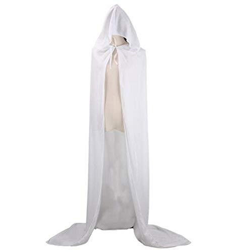 CHSYOO White Hooded Cloak Long Cape with Hood Robe for Halloween Costume...