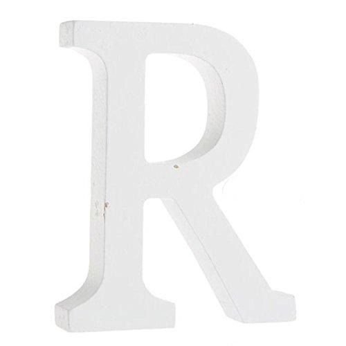 Worsendy Buchstaben Holz weiß, Handwerk Holz Holz Briefe Braut Hochzeitsparty Geburtstag Spielzeug Home Dekorationen 8 * 6CM (R)
