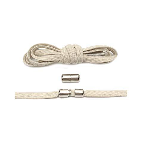 El cordón elástico Plano 1Pair Bloqueo Cordones de los Zapatos Unisex de Las Zapatillas de Deporte Lacess, Beige, 100cm