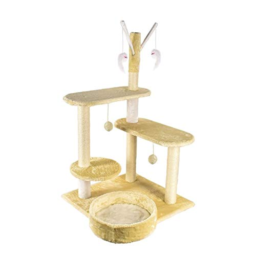 SHIBOHAN Kratzbaum für Katzen, solides Holz, Sisal, Klettergerüst, Katzenstreu mit...