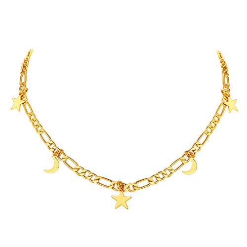 FindChic チョーカー レディース ネックレス フィガロチェーン ゴールド 18金 真鍮 星 月 チャーム付き 大人可愛い おしゃれ アクセサリー 女性 プレゼント