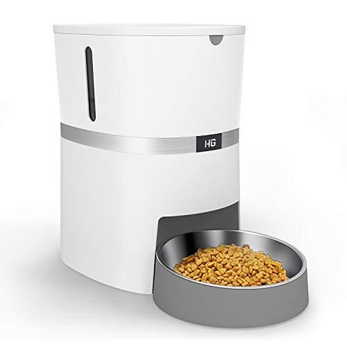 HoneyGuaridan Comedero Automático para Perros y Gatos, Dispensador de Comida con Bol de Acero Inoxidable, Control de Porciones y Grabación de Voz - Soporta Baterías y Alimentación Eléctrica