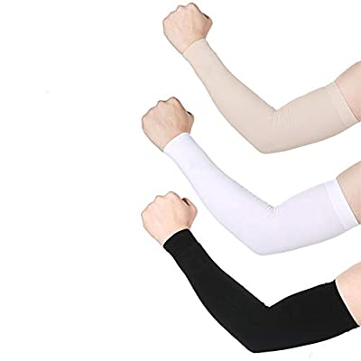 UV Protection Cooling Arm Sleeves Sun Sleeves Arm Cover for Women &Girls&Adult&Youth&Men Cycling, Running,Golf, Driving,Basketball, Football & Outdoor Activities Tattoos Arm Warmer -Black,White,Beig