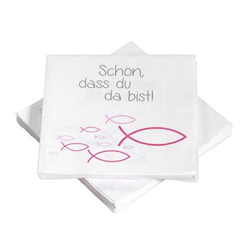 20 Servietten Fische Ichthys 'Schön, DASS du da bist!' 33x33 cm - pink - für Kommunion, Taufe oder andere Festliche Anlässe
