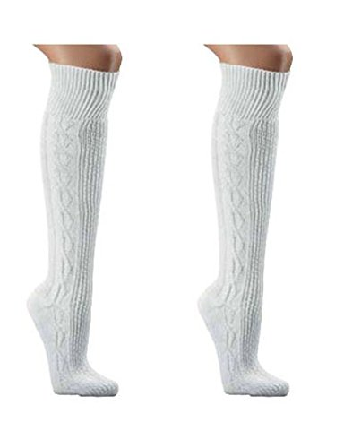 Wowerat Trachtenstrümpf,Trachten Socken,reinweiß,Wandersocken, Für Wiesn/Wasn Gr. 35-49 (35-38)