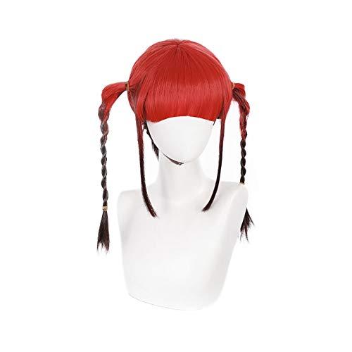 Chise Asukagawa Peluca Anime DYNAZENON Cosplay Pelucas Gradiente Rojo Negro Con Cola De Caballo Cos Props Con Gorra