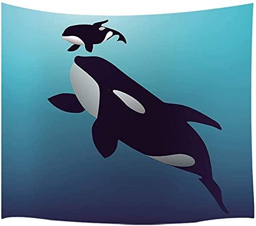 Tapiz de animla de dibujos animados para colgar en la pared, ballena asesina y ballenas en el agua decoración para niños 60 x 40 pulgadas