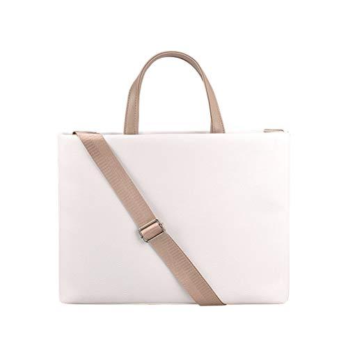 JFIEEI Laptop Bag, 14.1 inch Simple Style Laptop Handbag, 2-in-1 Lightweigh Slim Computer Carrying Case PU Leather Handbag Shoulder Bags-Beige