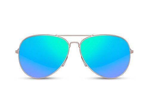 Cheapass Flieger-Sonnenbrille Verspiegelt Blau Gold UV-400 Piloten-Brille Retro Metall Damen Herren