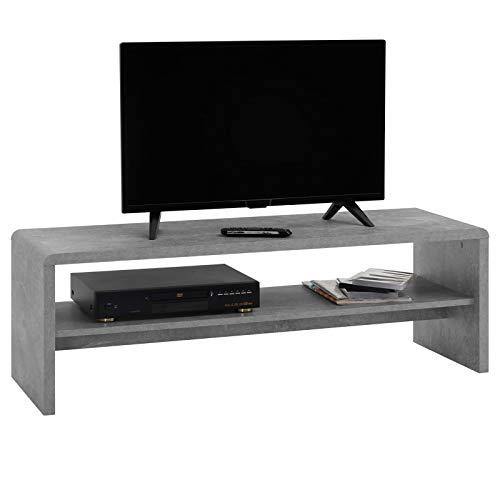 IDIMEX Table Basse Noelle, Table de Salon rectangulaire ou Meuble TV de 120 cm avec 1 étagère Espace de Rangement Ouvert, en mélaminé décor béton