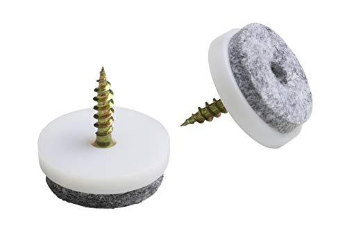 Metafranc Filz-Gleiter Ø 20 mm - Mit Schraube - weiß - 8 Stück - Effektiver Schutz Ihrer Möbel & Stühle / Möbelgleiter-Set für empfindliche Böden / Stuhlgleiter / Bodengleiter / 644216