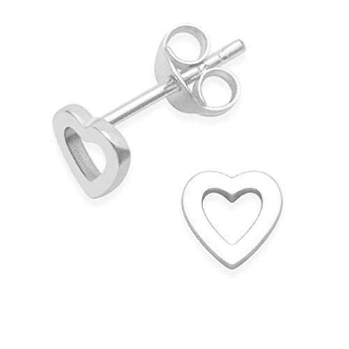 Sterling Silver Heart Earrings - Heart studs - size 5mm. Gift Boxed. MUCH SMALLER THAN SHOWN. 5030/HN