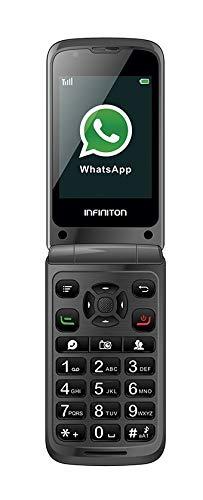 TELEFONO MOVIL F1 INFINITON (Incluye Whatsapp y Facebook, Movil con Tapa, Ideal para Personas Mayores, Teclas Grandes, Boton Emergencia)