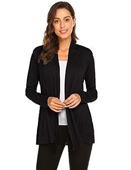 Newchoice Women s Soft Drape Lightweight Long Sleeve Cardigan Sweaters Loose Casual Fall Dusters  Black L