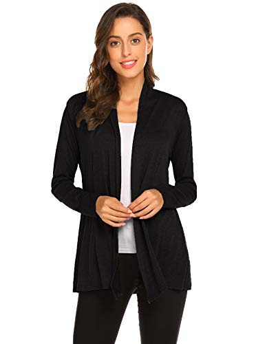 Newchoice Womens Classic Open Front Lightweight Cardigans Casual Long Sleeve Loose Kimono Cardigans (Black, S)