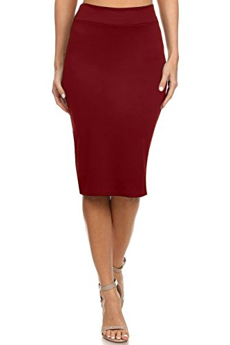 Reg and Plus Size Pencil Skirts for Women Below The Knee. Work,Weekends,Date Nights,Sexy Office Business Bodycon Skirts (Size Large, Wine)