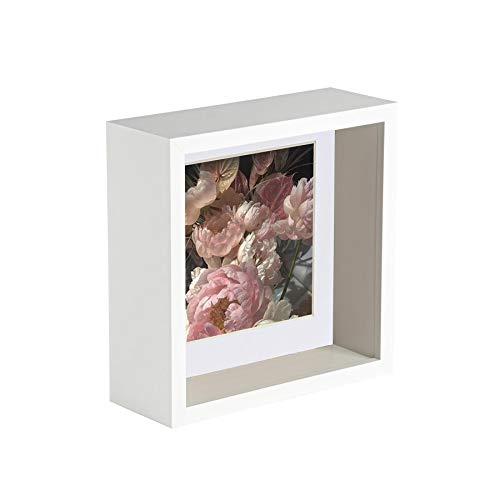 Nicola Spring 6 x 6 3D-Schatten-Tief Box Photo Frame - Craft Anzeigen Bilderrahmen mit 4 x 4-Halterung - Weiß